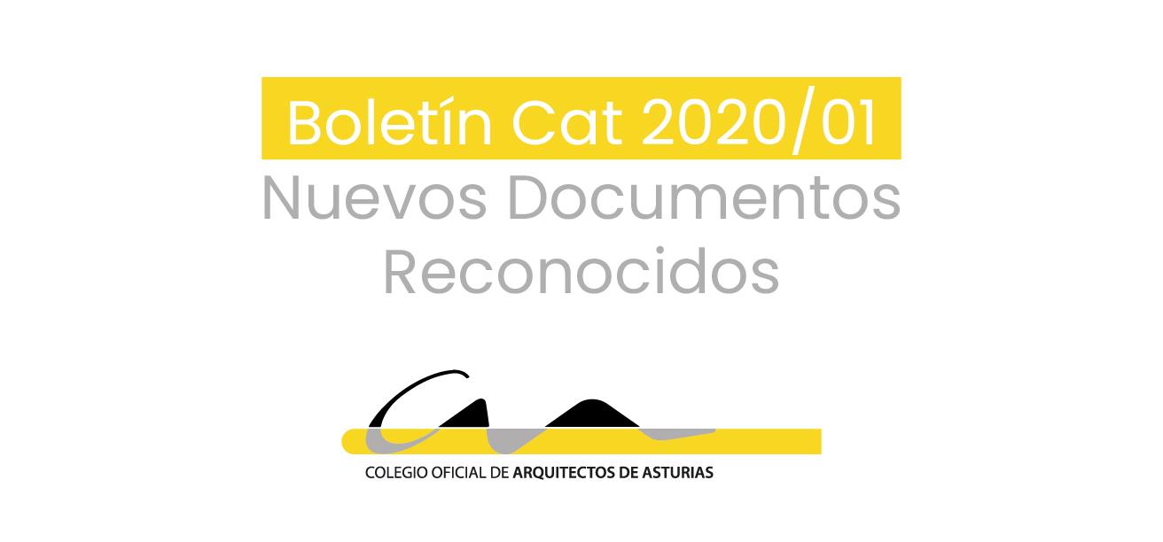 Boletín CAT 2020/01 NUEVOS DOCUMENTOS RECONOCIDOS