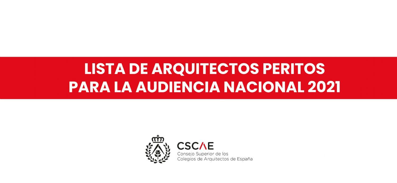 Arquitectos Peritos de la Audiencia Nacional 2021