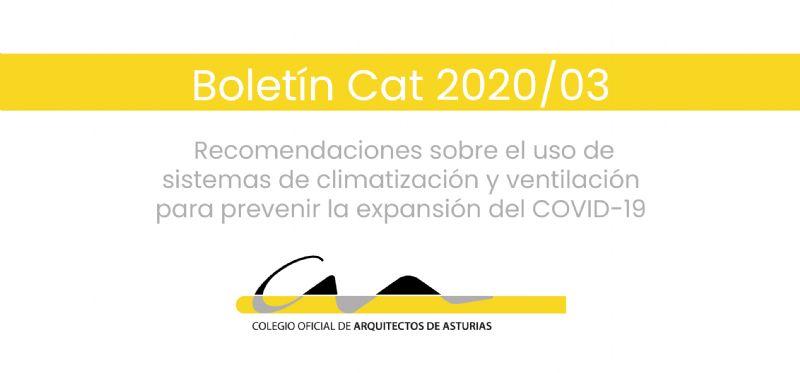 Boletín CAT 2020/03: Recomendaciones sobre el uso de sistemas de climatización y ventilación para prevenir la expansión del COVID-19