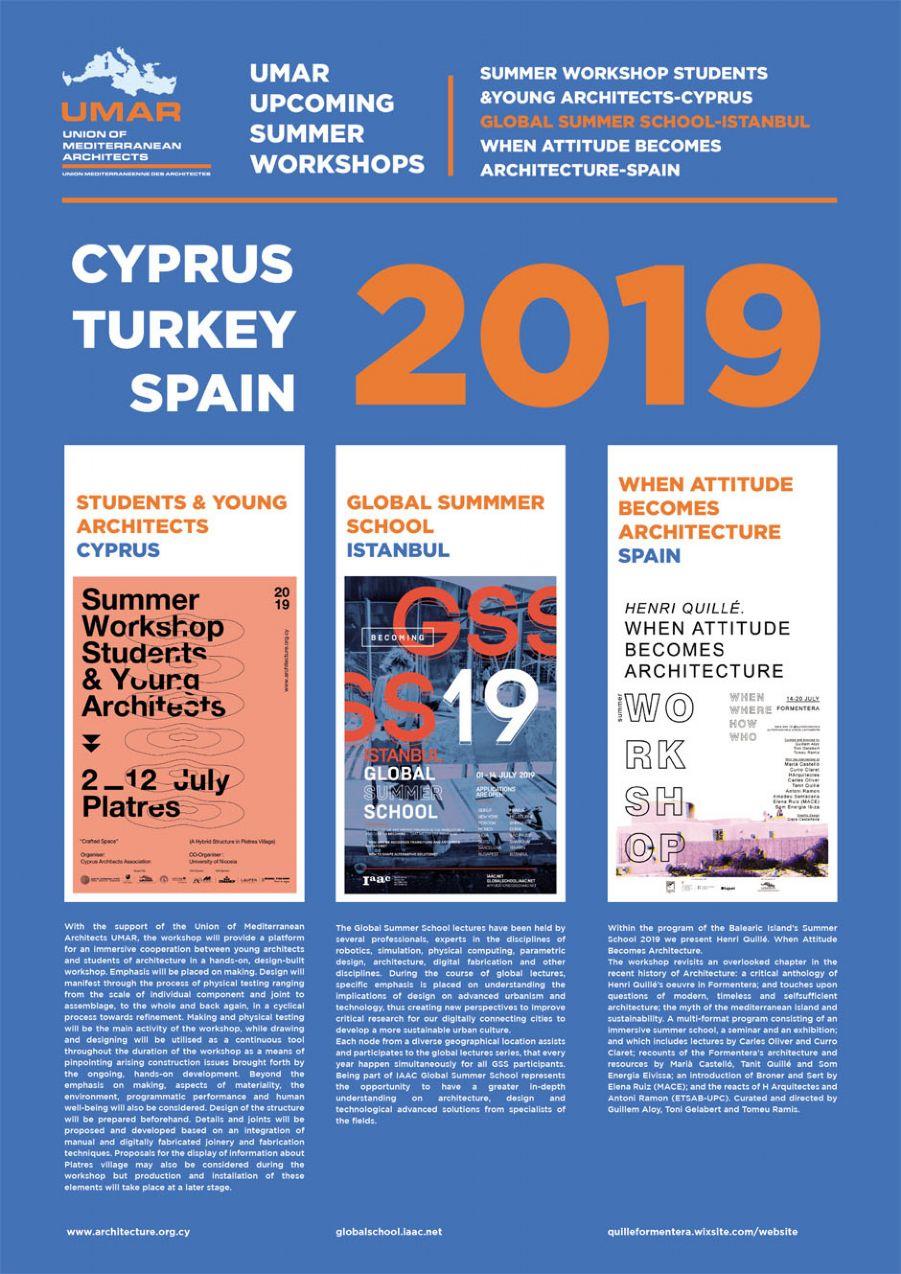 Talleres de verano para profesionales y estudiantes en Baleares, Chipre y Turquía