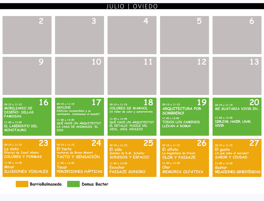 Talleres infantiles de arquitectura JULIO 2018