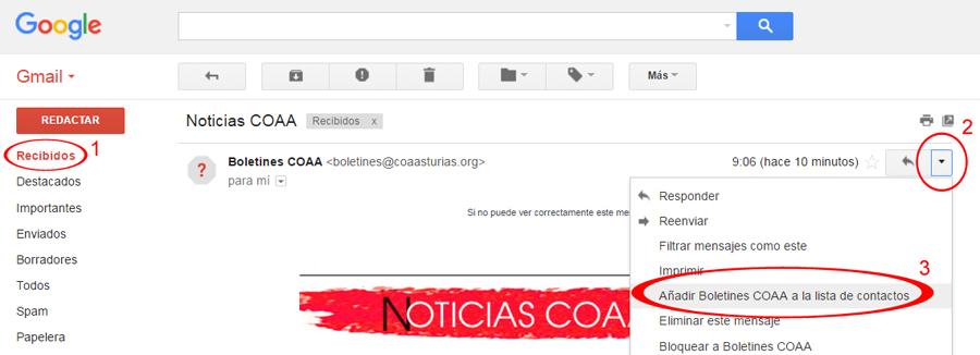 Añadir a Contactos (Gmail)