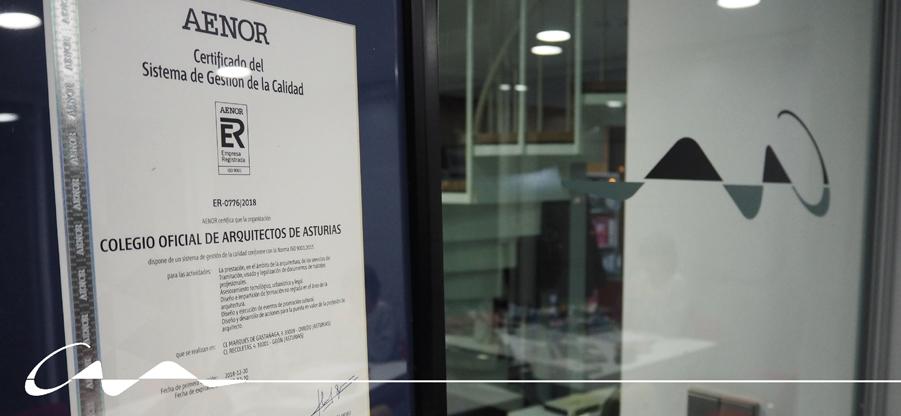 AENOR certifica al COAA con la Norma de calidad ISO 9001:2015