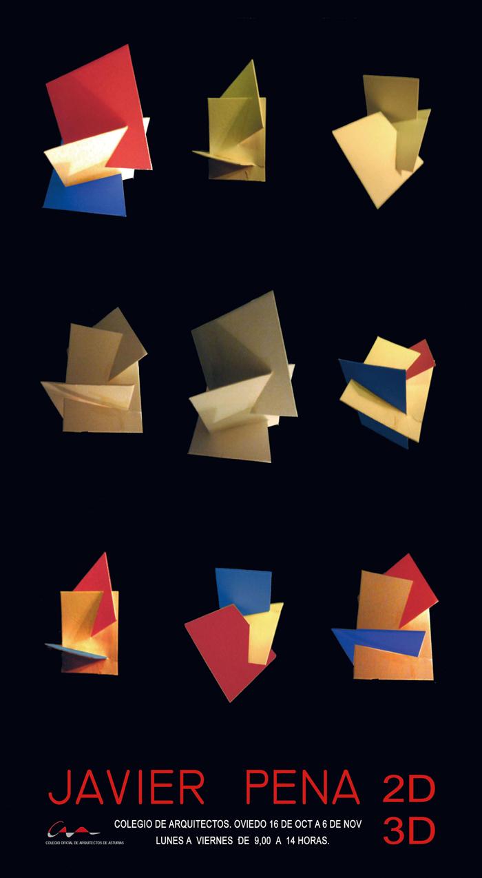 Cartel Exposición `2D-3D` de Javier Pena