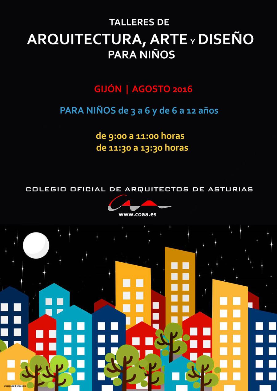 Cartel Talleres Infantiles de Arquitectura COAA Gijón