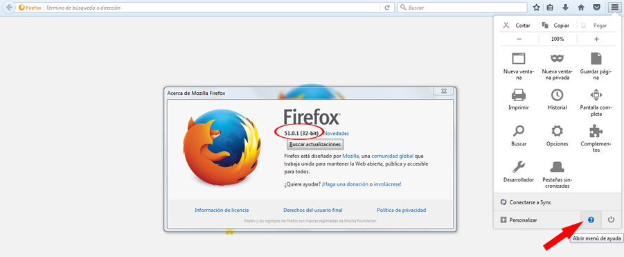 Comprobar Versión Mozilla Firefox