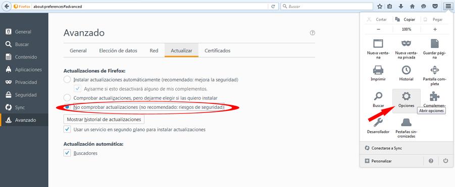 Desactivar Actualizaciones Automáticas Mozilla Firefox