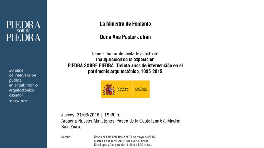 Exposición ´Piedra sobre Piedra´. 30 años de intervención en el patrimonio arquitectónico, 1985-2015.