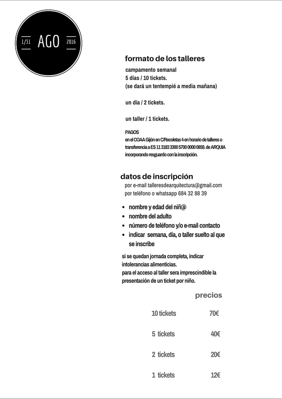 Inscripciones Talleres Infantiles de Arquitectura COAA Gijón