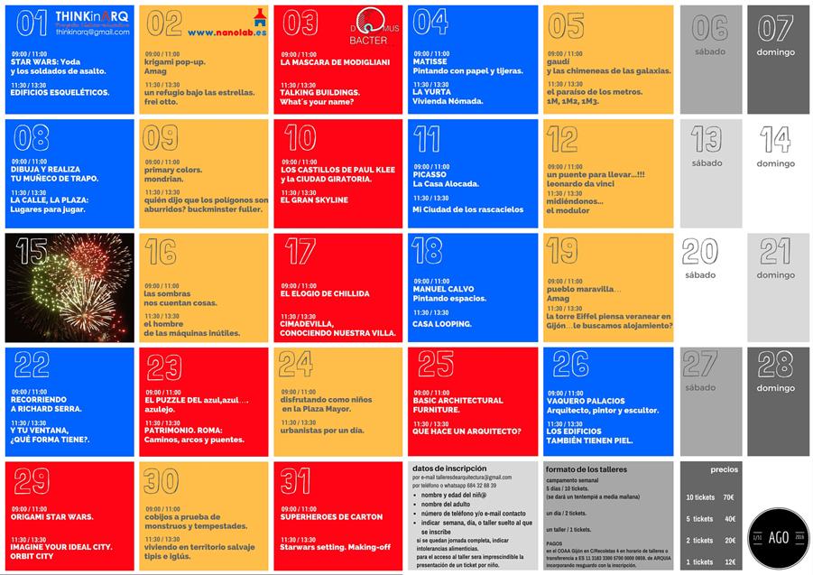 Programación Mes Agosto 2016 (Talleres Infantiles Arquitectura)