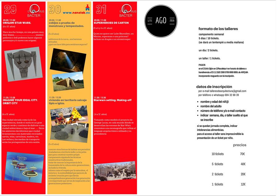 Programación Quinta Semana Agosto 2016 (Talleres Infantiles Arquitectura)