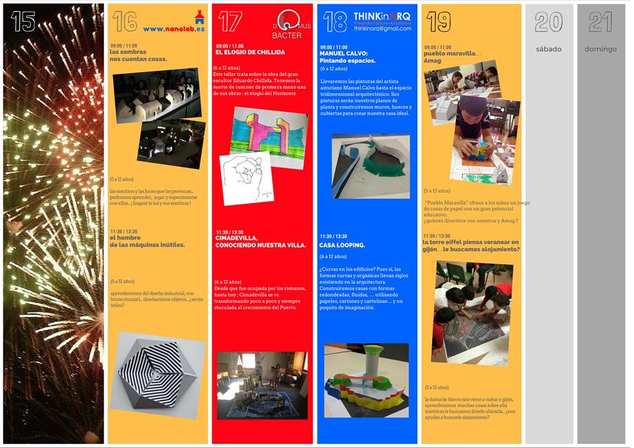 Programación Tercera Semana Agosto 2016 (Talleres Infantiles Arquitectura)