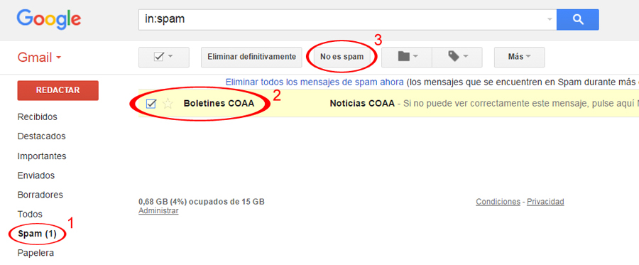 Sacar de carpeta Spam (Gmail)